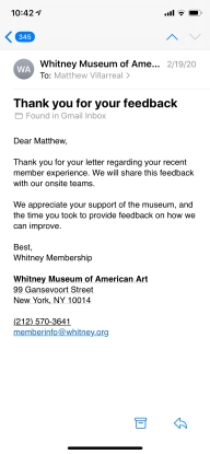 a screenshot from my phone of the Whitney email response